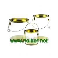 Wholesale Clear Cylindrical PVC PET bucket plastic pail with tin lid and bottom paint can bucket from china suppliers