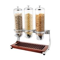Wholesale SUNNEX Wooden Base Triple Head Cereal Dispenser for Buffet Service Dry Food Dispenser 4.0Ltr x 3 from china suppliers