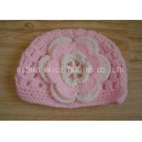 Wholesale Cable Pattern Pink Crochet Flower Hat Hollow Out Crochet Baby Hats With Flowers from china suppliers
