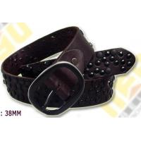 Wholesale calf leather women's belts with gun-mental rivets from china suppliers