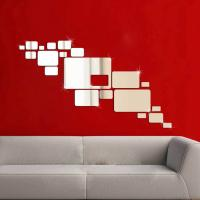 Quality 3D Silver Mirror Surface Geometric 20pcs Rectangle Acrylic Wall Sticker Decor for sale