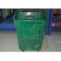 Wholesale Castor Rolling Shopping Basket With Wheels , 4 Wheeled Plastic Shopping Baskets from china suppliers