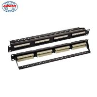 "Wholesale 19"" 110 IDC UTP Unshielded Rack Mount Patch Panel 24 Port Cat5e With Cable Management from china suppliers"