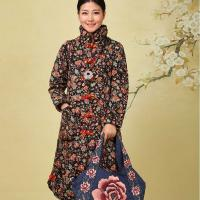 China Long Sleeve Chinese Cotton Padded Jacket Floral Pattern Anti Shrink For Lady for sale