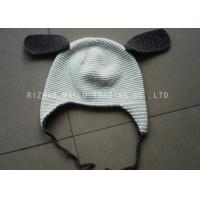 Wholesale White Crochet Winter Hat With Brown Earflap And Ribbon / Crochet Beanie Hats from china suppliers