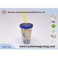 Wholesale 600 ml Custom V shape Plastic Straw Cup , Beverage Plastic Mug withStraw from china suppliers