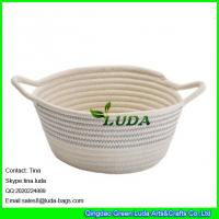 Wholesale LUDA 2016 new bag striped collapsible cotton rope bag storage baskets from china suppliers