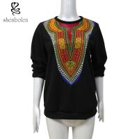 Wholesale Womens / Ladies Patchwork Sweater Fleece African Print Tops Long Sleeve Wax Printed from china suppliers