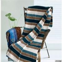 Wholesale Coral Fleece Polyester Throw Blanket With Stripe Design for Home / Hotel from china suppliers