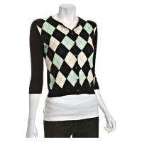 Wholesale Black Argyle Cashmere Cardigan Womens Knitted Sweaters With Rhinestone from china suppliers