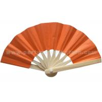 Wholesale Foldable Orange Color Printed Bamboo Paper Fans , Promotional Hand Held Fans from china suppliers