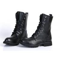 Wholesale Flat Low Heel Military Jungle Boots , Round Toe Leather Motorcycle Boots from china suppliers