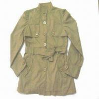 Wholesale Women's Jacket with Long Sleeves and Two Pockets, Made of 100% Cotton Twill, Enzyme Wash from china suppliers