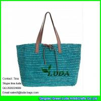 Wholesale LUDA lake blue colored raffia handbags crochetting raffia shoulder straw tote handbag from china suppliers