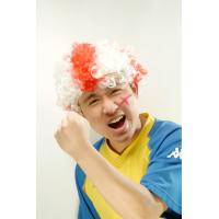 Wholesale White and Red Afro Artificial Football Party Sports Fan Wigs from china suppliers