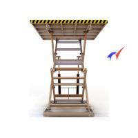 Wholesale Yellow Heavy Duty Double Scissor Lift Table 2.4m Lifting Height With 3T Load from china suppliers