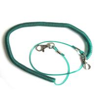 Wholesale Dark green high pulling wire inside plastic stretchy coil lanyards for fishing camping use from china suppliers