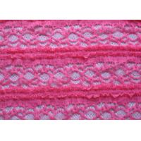 Delicate Pink Crocheted Lace Fabric Stretch In Ladies Garment , Shrink-Resistant