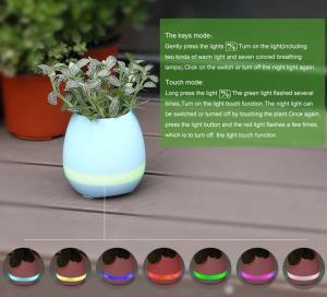 Quality 2017 Modern Design Intelligent Plastic Bluetooth LED Light Touching Music Flowerpot for sale
