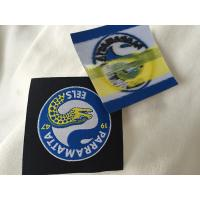 Wholesale Heat Cut Woven Iron On Garment Labels With Glue Back , Custom Name Labels For Clothing from china suppliers