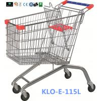 Wholesale Large Heavy Duty Supermarket UK Shopping Cart 115L With 4x4 Inch Swivel PU Wheel from china suppliers