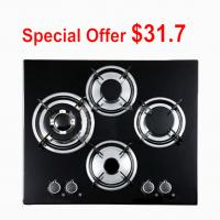 Wholesale Black Tempered Glass Top 4 Burner Gas Cooktop , Gas On Glass Hob from china suppliers