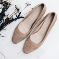 Wholesale Cow Suede Office Ladies Shoes , Cap Toe Womens Low Heel Pumps Apricot Color from china suppliers