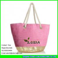 Wholesale LUDA  golden metallic beach straw tote bag fashion lady straw beach hand bag from china suppliers