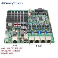 Wholesale DC 12V Power Quad LAN Motherboard Fanless Board Dual Core J1800 With 4 Intel LAN from china suppliers