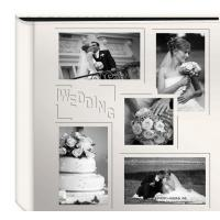 "Wholesale Collage Frame Embossed ""Wedding"" Sewn Leatherette Cover Photo Album, Ivory from china suppliers"
