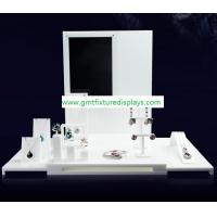 Wholesale White Acrylic CounterJewelry Display Set for Showcase Foldable Plexiglass Jewellery Stand With Back Panel from china suppliers