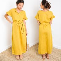 China Paloma Mustard Short Sleeve Button Down Slit Maxi Linen Dress on sale