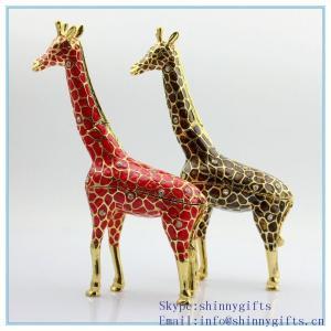 Quality Handmade enamel with rhinestone giraffe shape jewelry box for sale