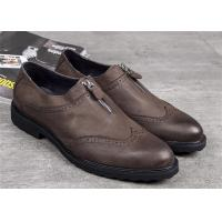 Wholesale Elegant Classic Dress Shoes Dark Brown Wingtip Brogues With Zipper from china suppliers