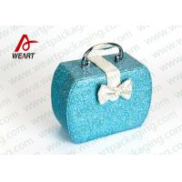 Wholesale Customized Blue Glitter Organized Makeup Case With White Bow from china suppliers