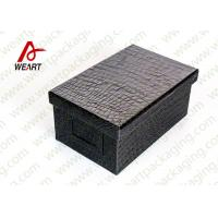 Wholesale Black Leather Coated  Branded Products Cardboard Gift Boxes With Lids OEM from china suppliers