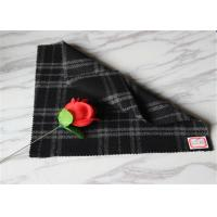 """Wholesale 59"""" Width Tartan Wool Fabric Black Background With White Line 40% Polyester from china suppliers"""