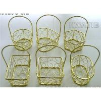 Buy cheap SMALL METAL WIRE BASKETS IN GOLD PLATED, CRAZY WIRE DESIGN, 6 SHAPES ASSORTED, HANDICRAFT from wholesalers