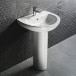 Square Single Hole Ceramic Pedestal Wash Basin Yellow Color Sink Under ...