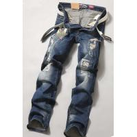Wholesale Clothing Designer Biker Ripped Mens Slim Straight Jeans Blue / Black Destroyed from china suppliers