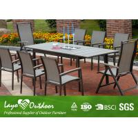 Wholesale Wooden Extendable Dining Table Set Outside Garden Furniture Powder Coated Frame from china suppliers