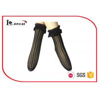 Wholesale Sexy Black Ladies Silk Socks Jacquard With Lace Top Edge , Womens Nylon Socks from china suppliers