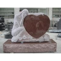 Wholesale Red Granite Carving Angel with Heart Headstone from china suppliers