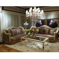 Wholesale Luxury Design and Romantic Sofa set made by Wooden Carving Frame with Fabric Upholstery from china suppliers