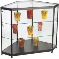 Wholesale 4ft Mobile Phone Display Cabinet , Black Glass Corner Display Cabinet With Lock from china suppliers
