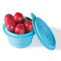 Wholesale Custom Printed Folding Silicone Bowl For Fruit , BPA Free Blue Silicone Kitchen Use from china suppliers
