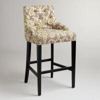 Wholesale Vintage Country Style Velvet Fabric Wooden Upholstered Bar Stools Tufted Back from china suppliers