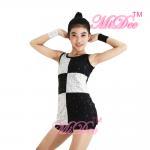 China Elegant Black White Dance Competition Costumes Sequin Vest Dance Dress for sale