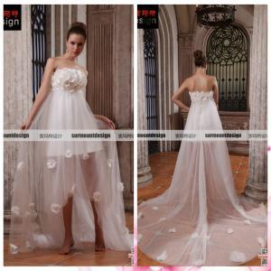 China Real Sample Elegant Wedding Gown Short Front Long Back Wedding Dress on sale