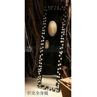 Wholesale Plywood Art Deco Mirrors , Black Frame with Shell 158 * 49 * 3.5 cm from china suppliers